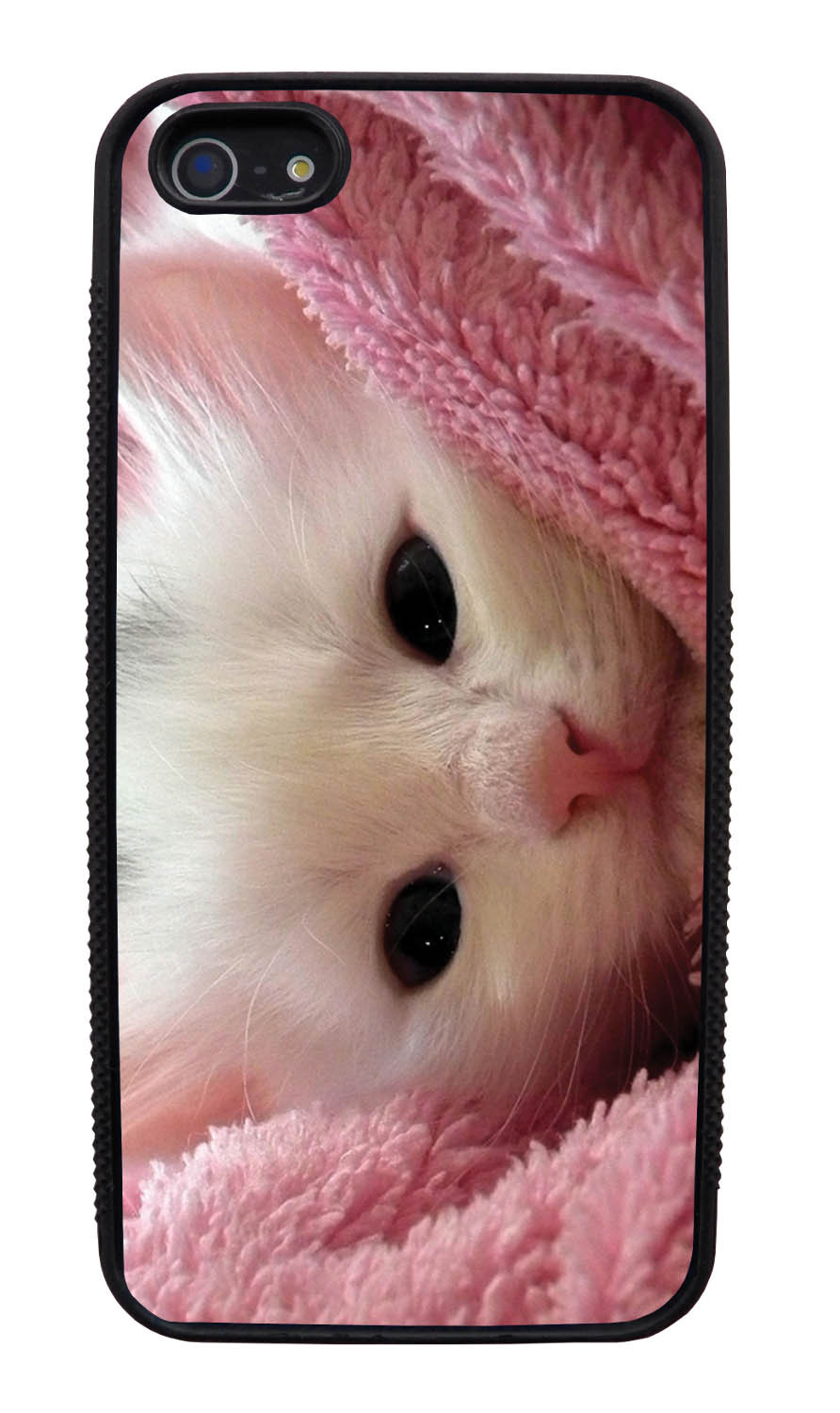 Apple iPhone 5 / 5S Cat Case - New Born Kitten Photo - Cute Pictures - Black Slim Rubber Case