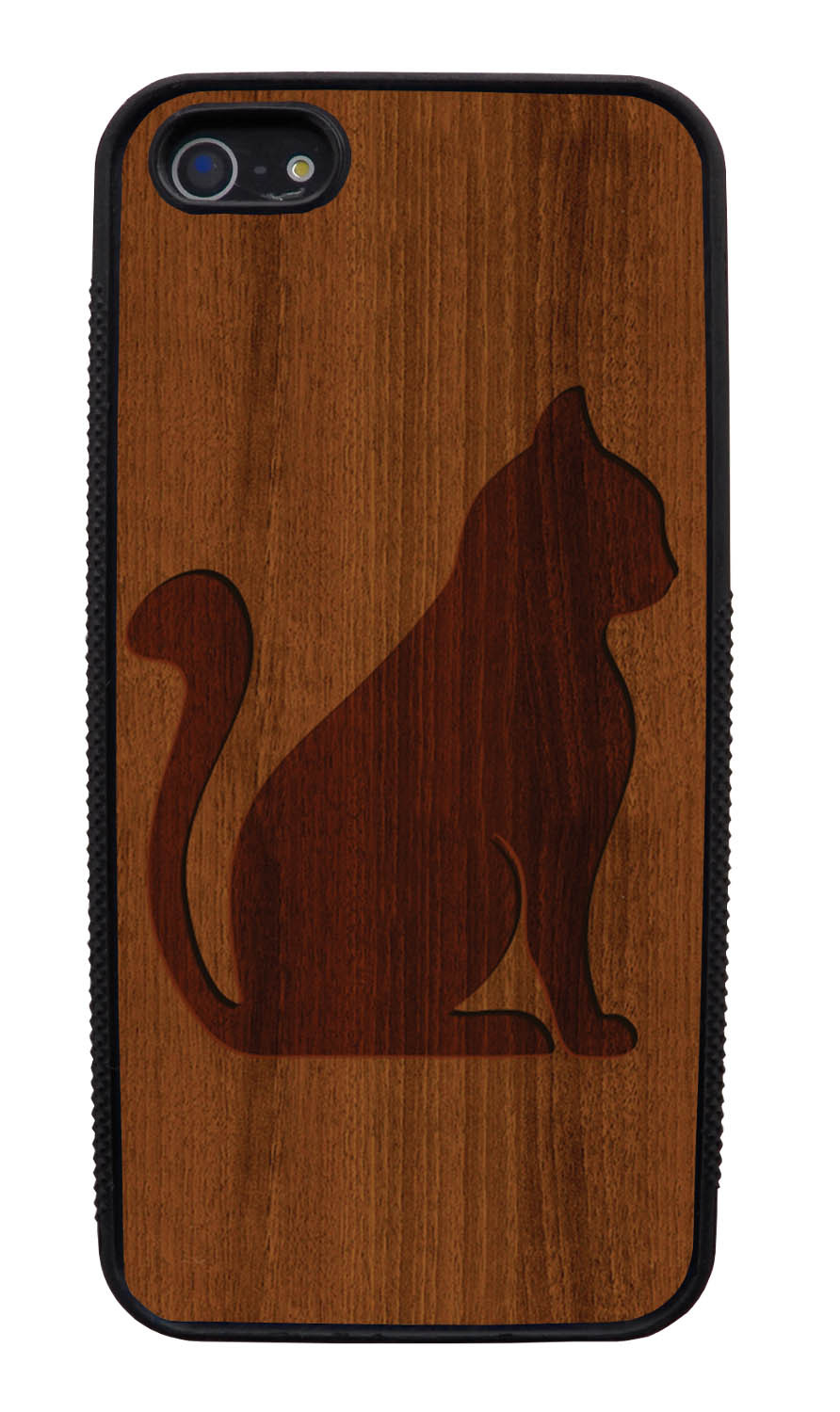 Apple iPhone 5 / 5S Cat Case - Simulated Cherry Wood Engraving Sitting Cat - Simple Stencils Cutout - Black Slim Rubber Case