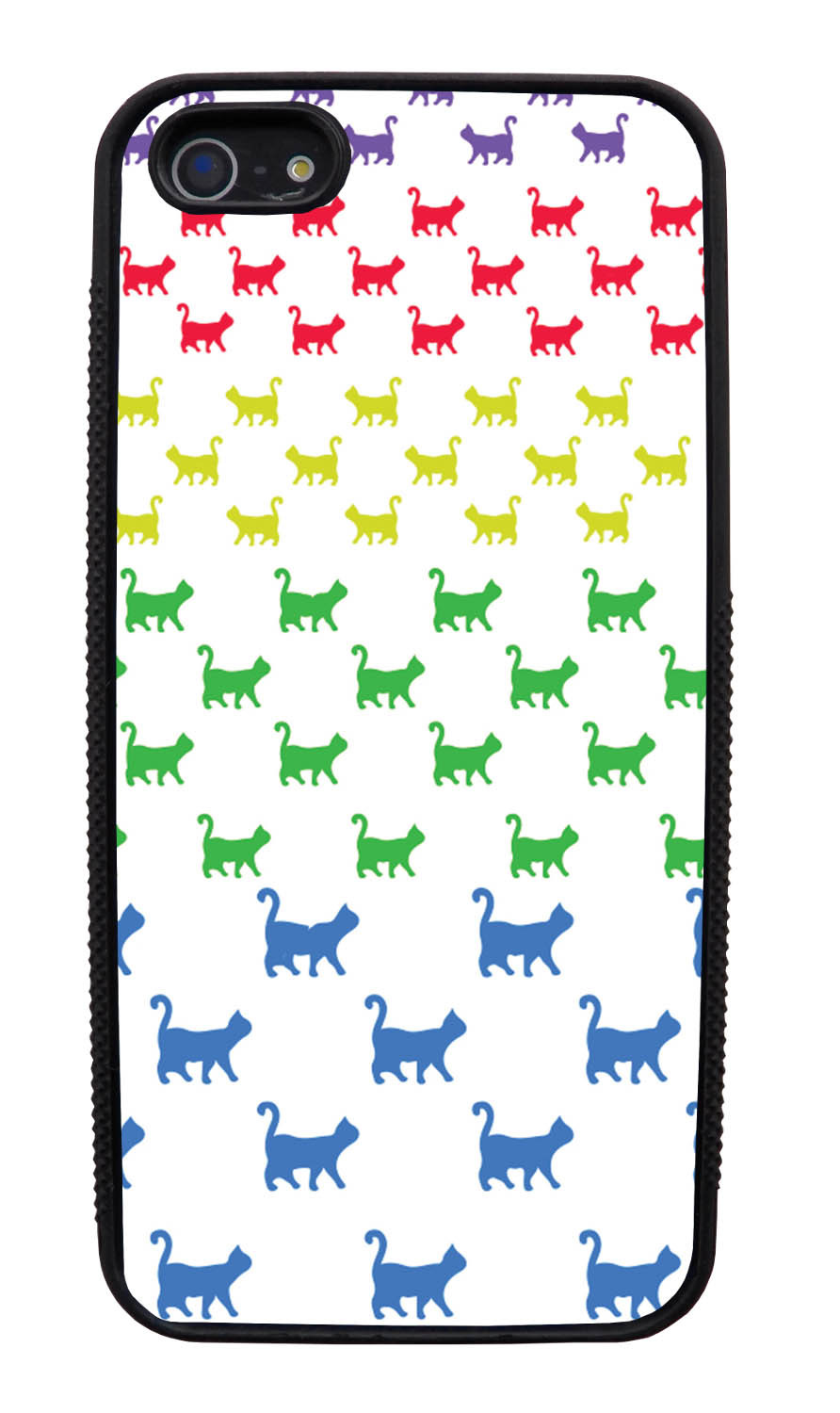 Apple iPhone 5 / 5S Cat Case - Rainbow Colored Walking Cat on White - Simple Stencils Cutout - Black Slim Rubber Case