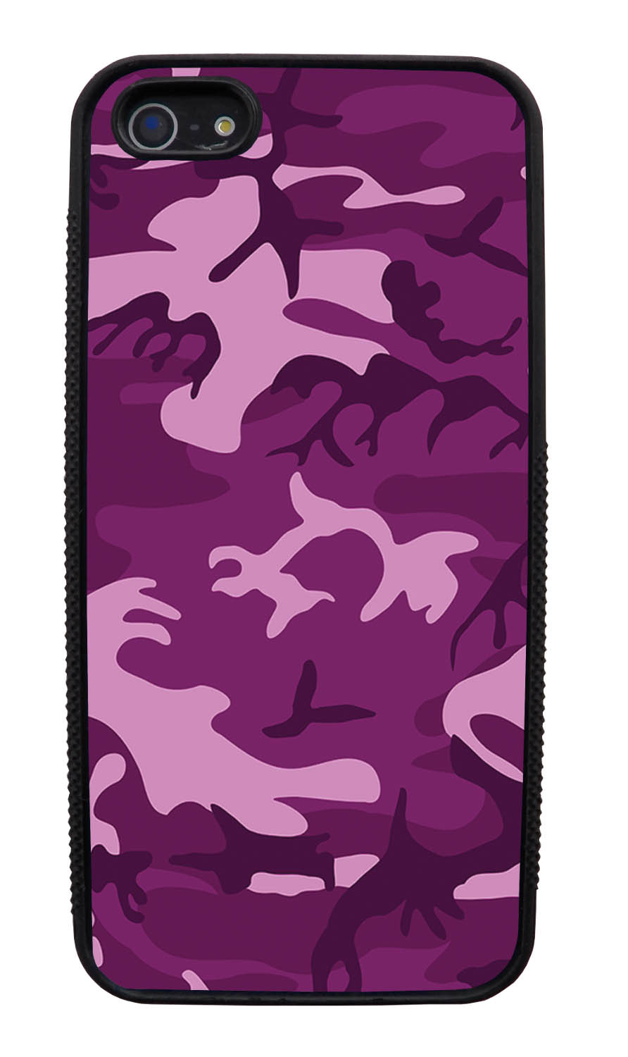 Apple iPhone 5 / 5S Camo Case - Purple - Woodland - Black Slim Rubber Case