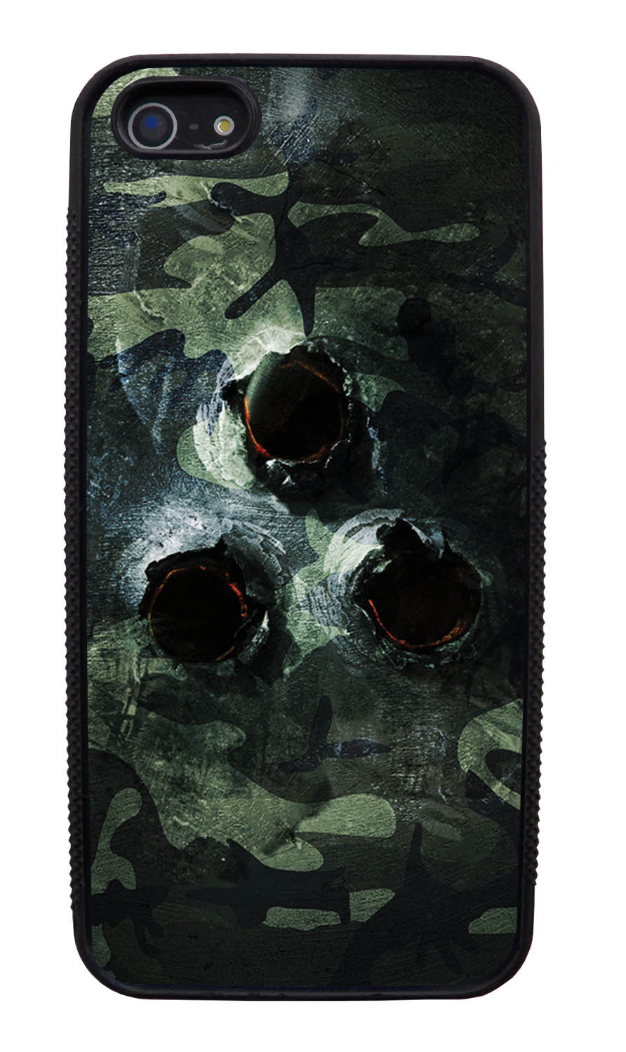 Apple iPhone 5 / 5S Camo Case - Metal Bullet Ridden Traditional - Woodland - Black Slim Rubber Case