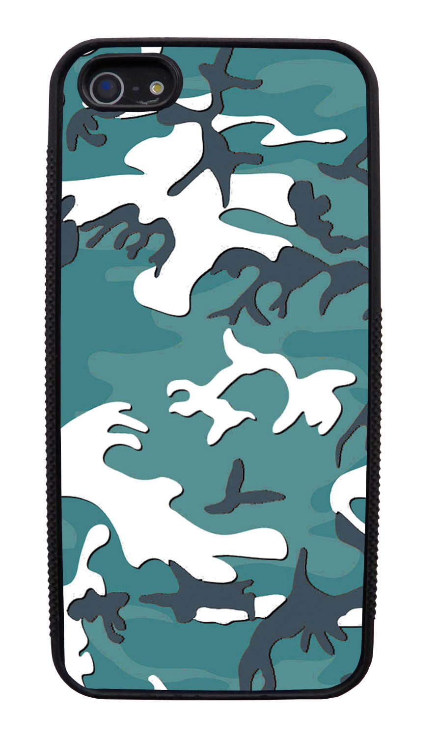 Apple iPhone 5 / 5S Camo Case - Oceanic Colors - Woodland - Black Slim Rubber Case