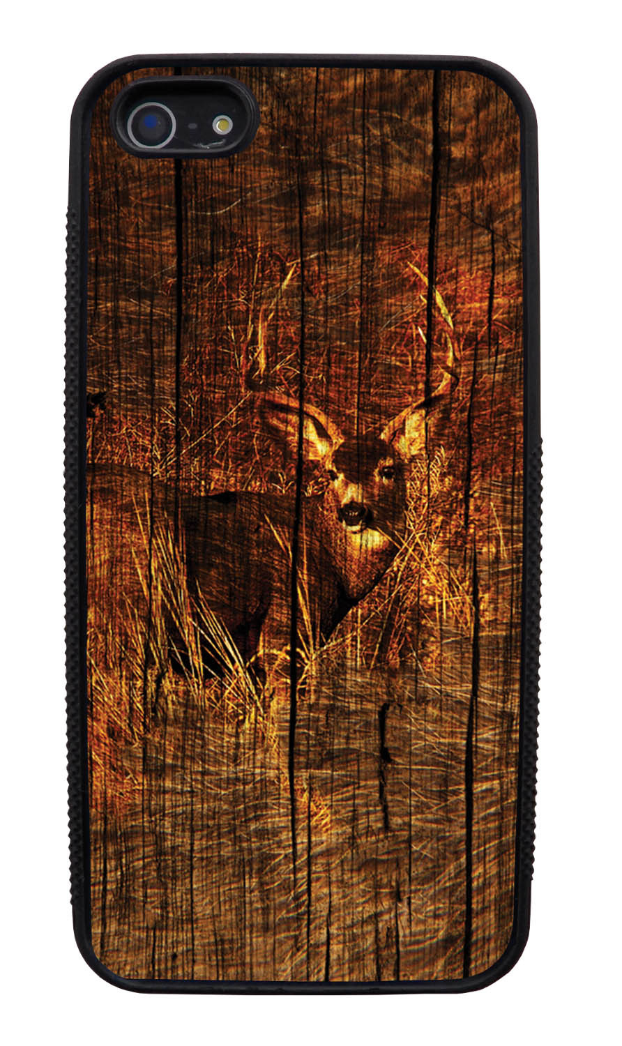 Apple iPhone 5 / 5S Deer Case - Deer Photo with Wood Overlay - Picture - Black Slim Rubber Case