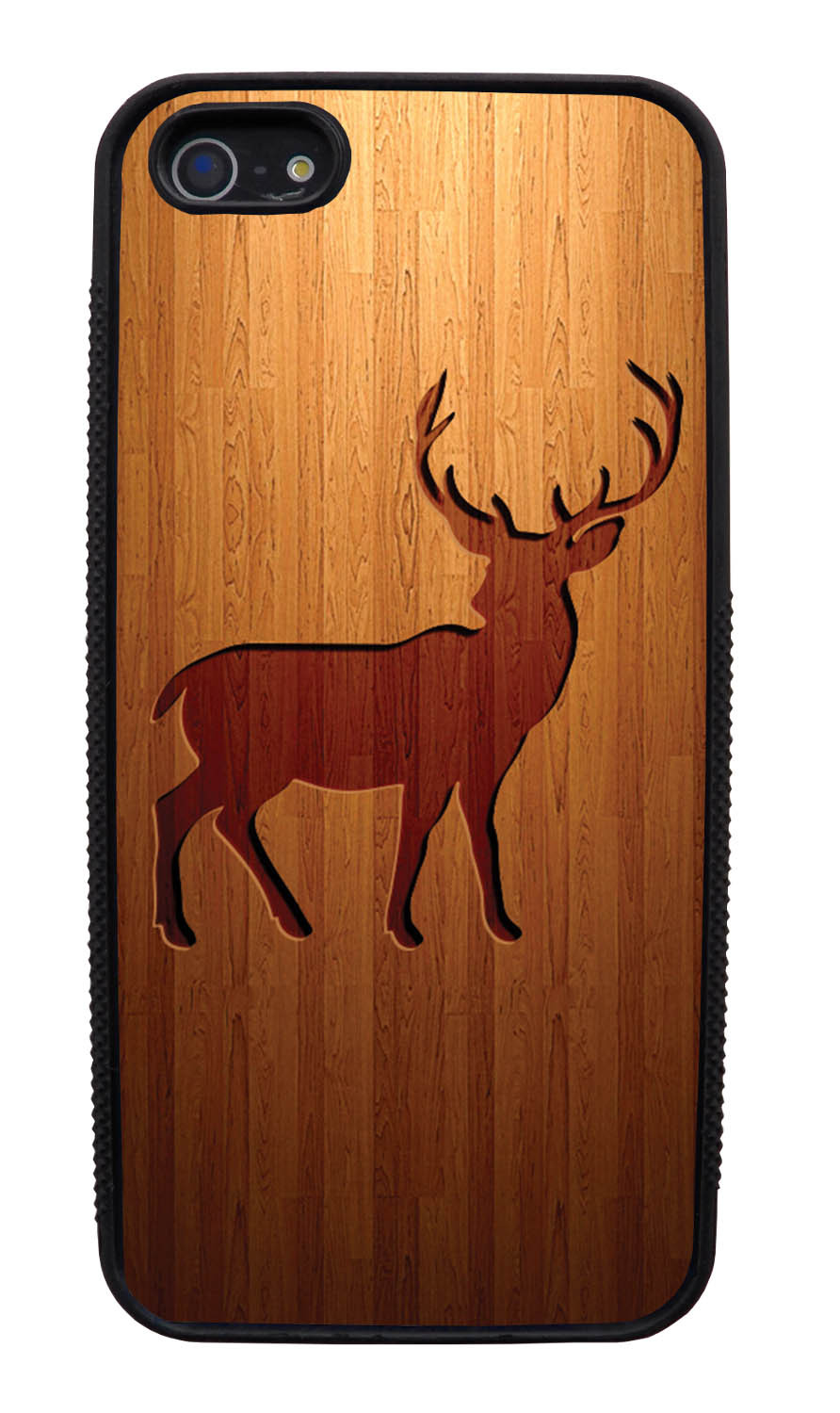 Apple iPhone 5 / 5S Deer Case - Simulated Wood Engraving - Picture - Black Slim Rubber Case