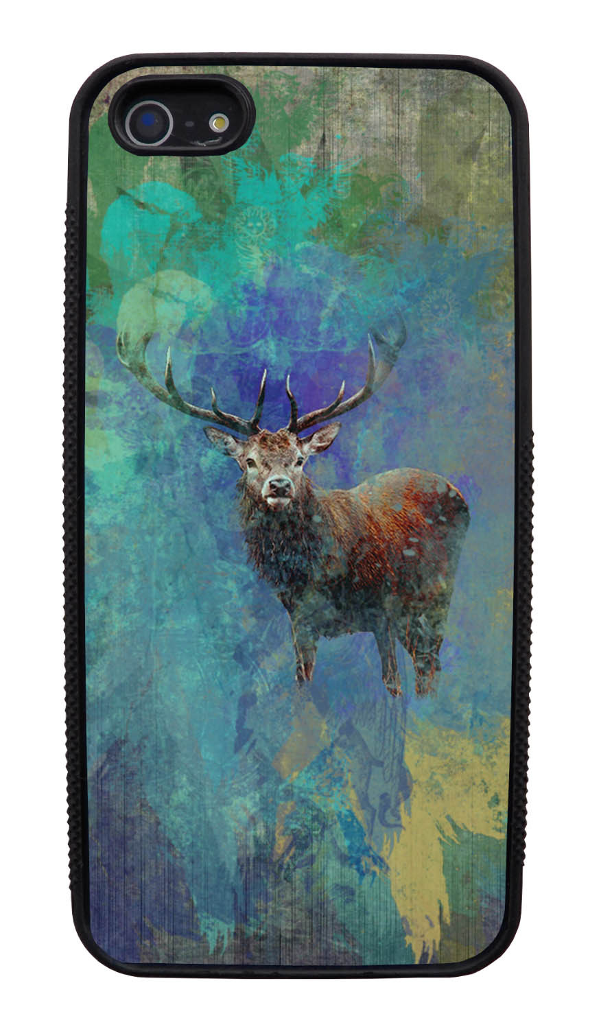 Apple iPhone 5 / 5S Deer Case - Deer Posturing Photo on Paint Splatter Overlay - Picture - Black Slim Rubber Case