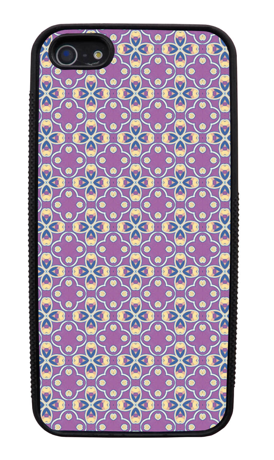 Apple iPhone 5 / 5S Abstract Case - Purple and Yellow Tip - Flower Petal Like - Black Slim Rubber Case