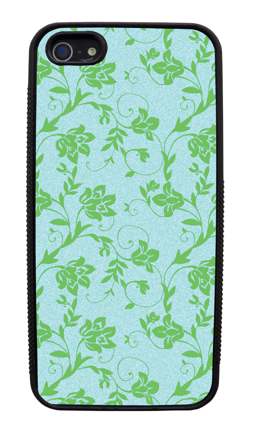 Apple iPhone 5 / 5S Flower Case - Green on Textured Light Blue - Stencil Cutout - Black Slim Rubber Case