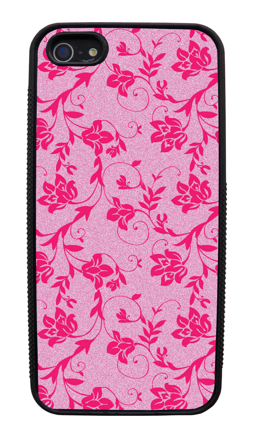 Apple iPhone 5 / 5S Flower Case - Hot Pink on Textured Pink - Stencil Cutout - Black Slim Rubber Case