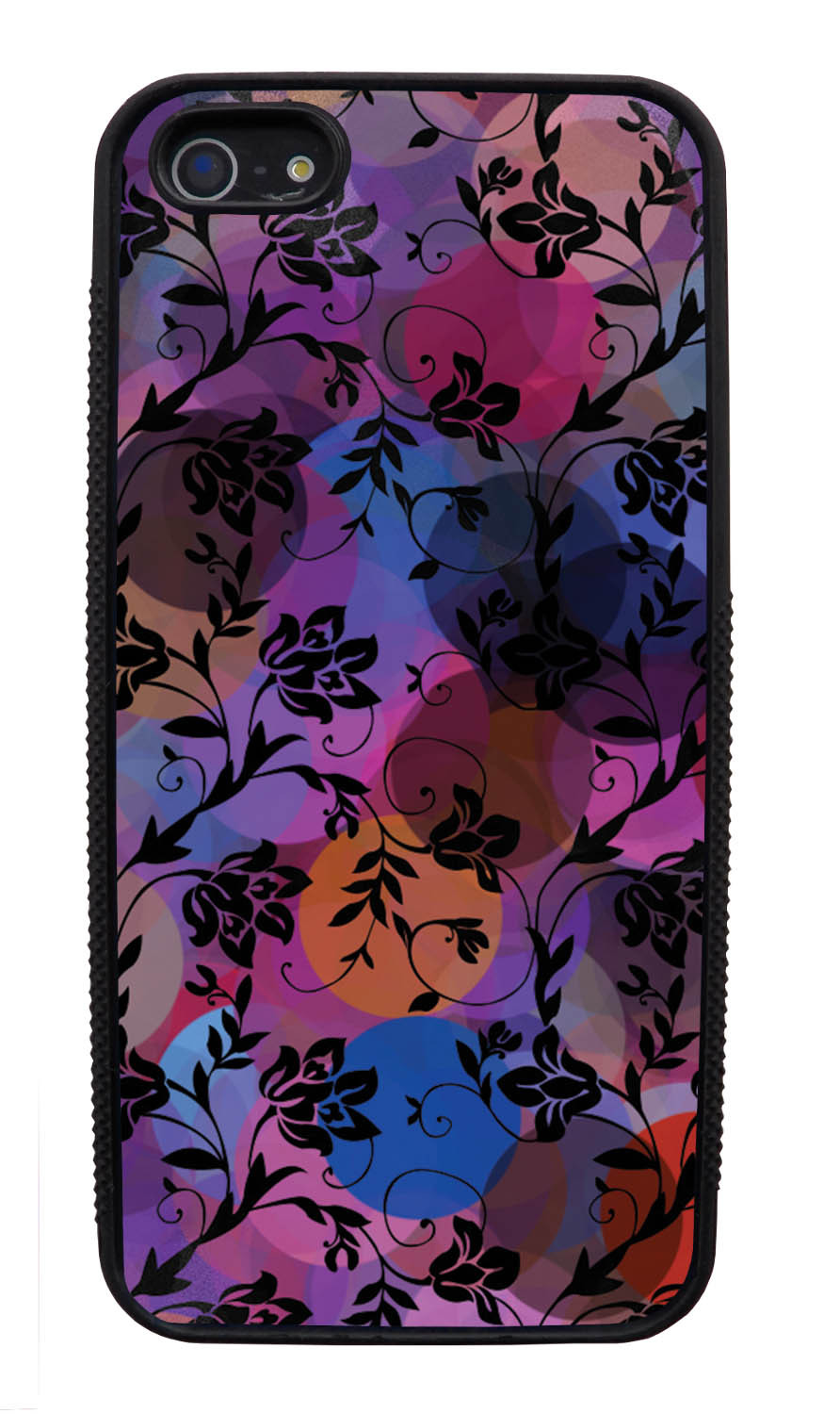 Apple iPhone 5 / 5S Flower Case - Black on Out-of-Focus Night Lights - Stencil Cutout - Black Slim Rubber Case