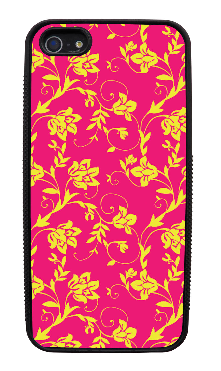 Apple iPhone 5 / 5S Flower Case - Yellow on Hot Pink - Stencil Cutout - Black Slim Rubber Case