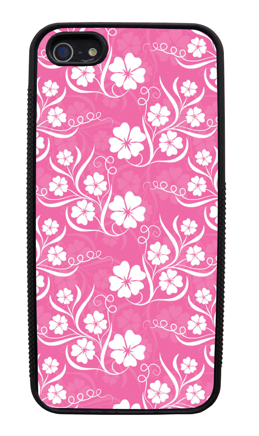 Apple iPhone 5 / 5S Flower Case - White on Pink - Stencil Cutout - Black Slim Rubber Case