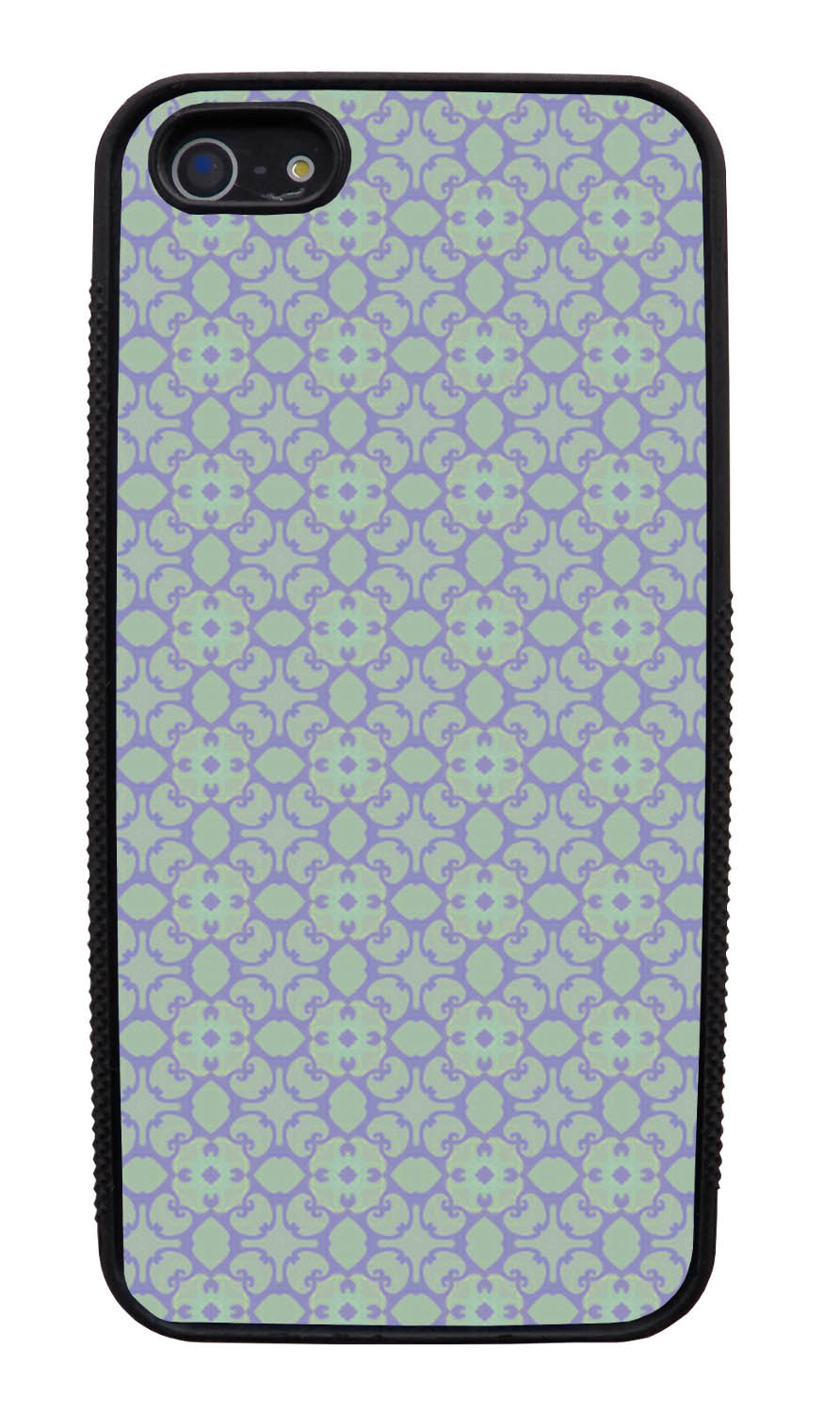 Apple iPhone 5 / 5S Abstract Case - Pale Green - Flower Petal Like - Black Slim Rubber Case