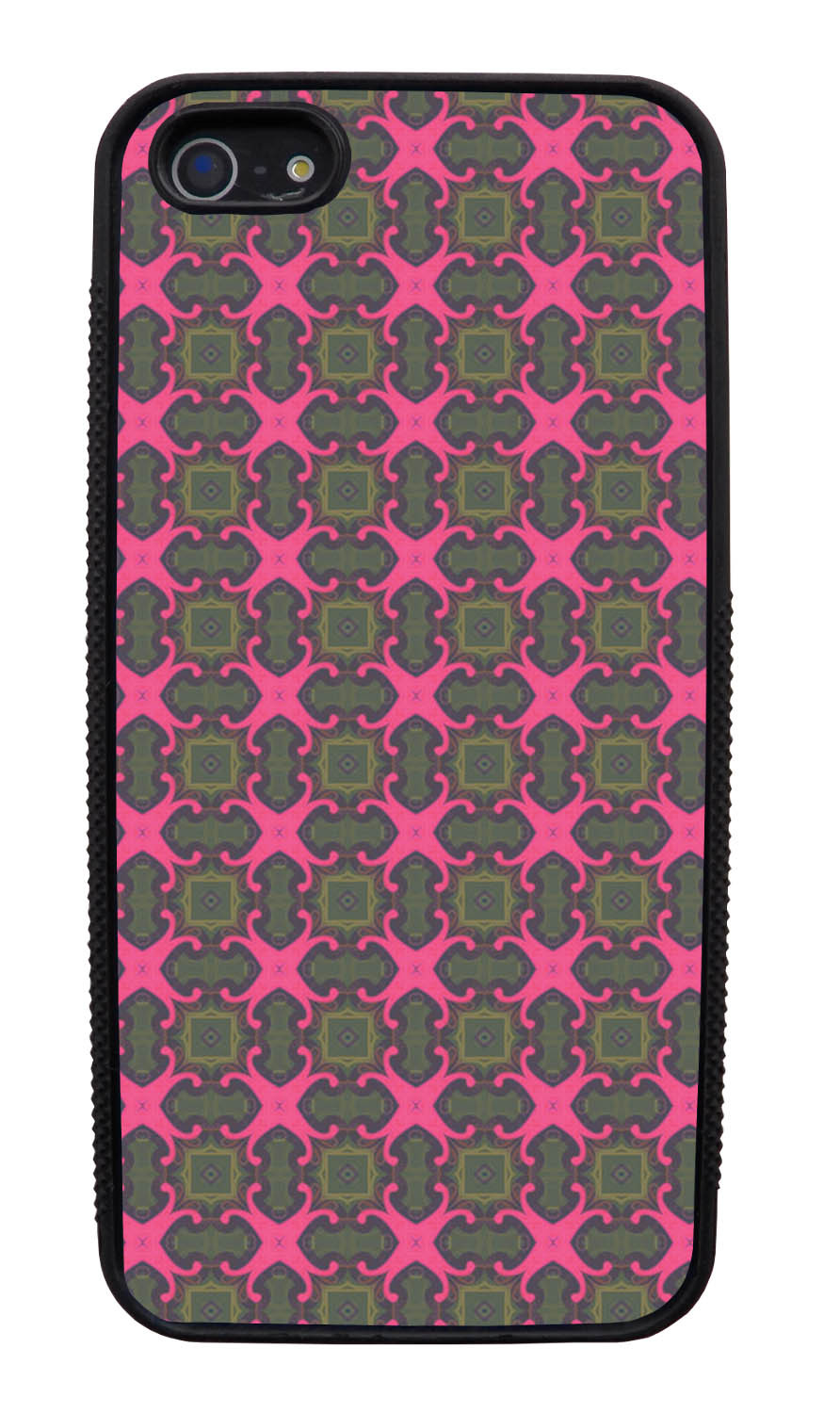 Apple iPhone 5 / 5S Abstract Case - Olive Green and Pink - Flower Petal Like - Black Slim Rubber Case