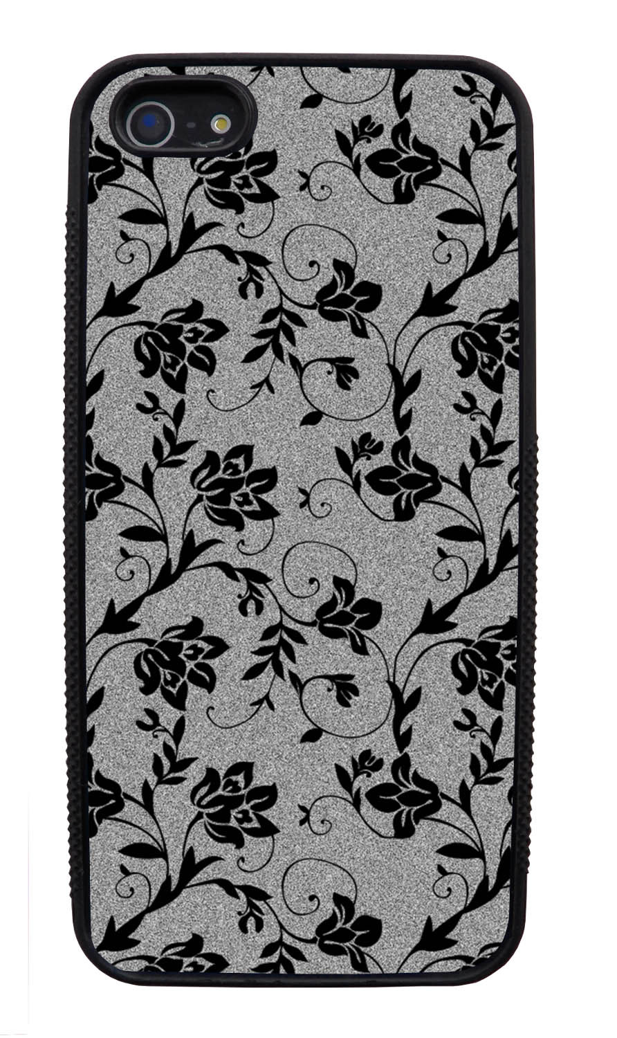 Apple iPhone 5 / 5S Flower Case - Black on Textured Grey - Stencil Cutout - Black Slim Rubber Case