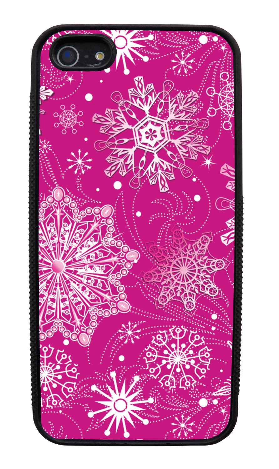 Apple iPhone 5 / 5S Pink Case - White Snowflakes on Hot Pink - Fall And Winter - Black Slim Rubber Case