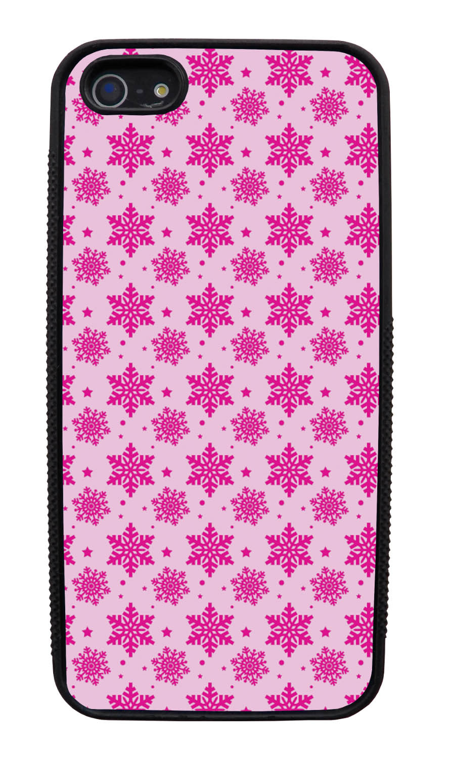 Apple iPhone 5 / 5S Pink Case - Hot Pink Snowflakes on Pink - Fall And Winter - Black Slim Rubber Case