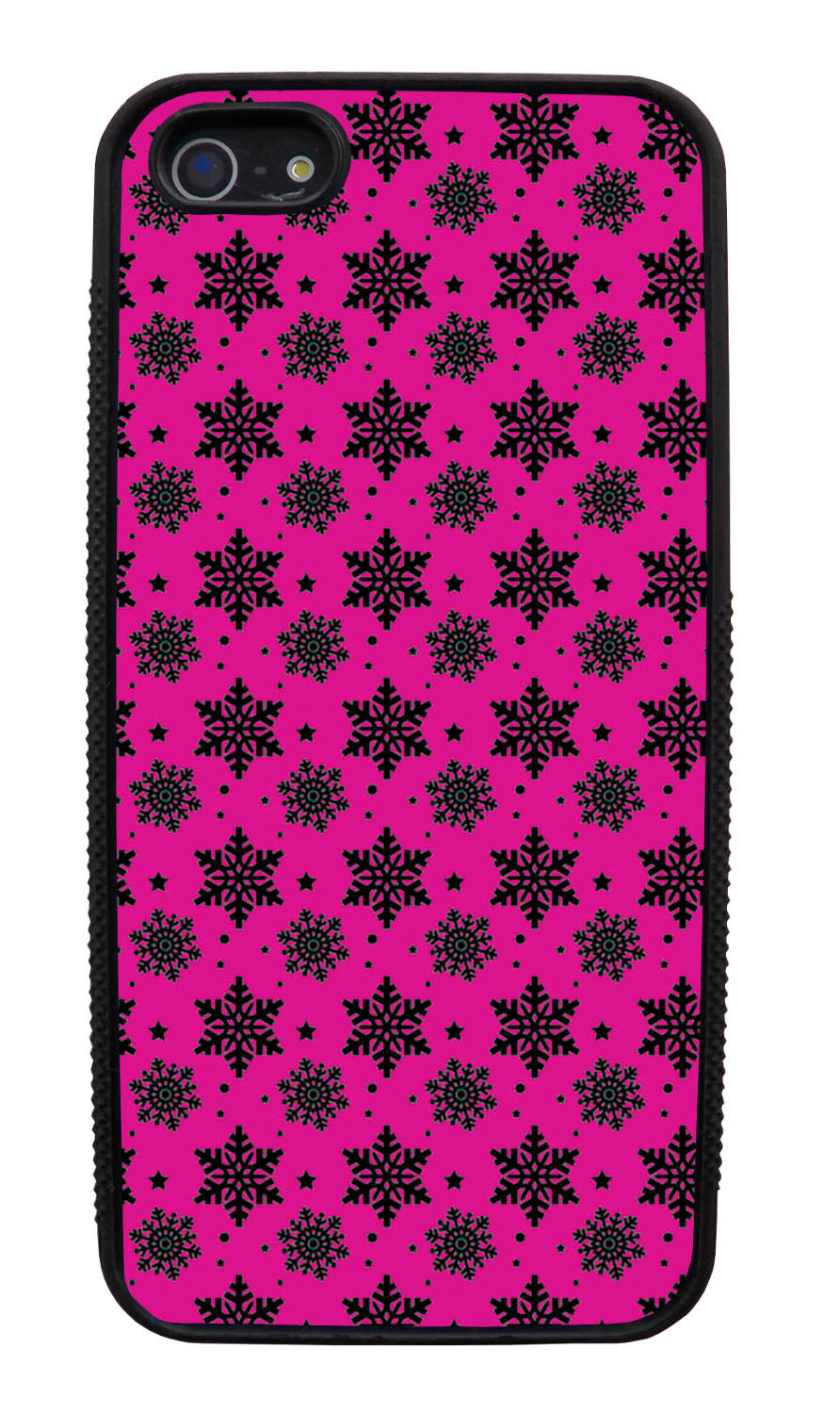 Apple iPhone 5 / 5S Pink Case - Black Snowflakes on Hot Pink - Fall And Winter - Black Slim Rubber Case
