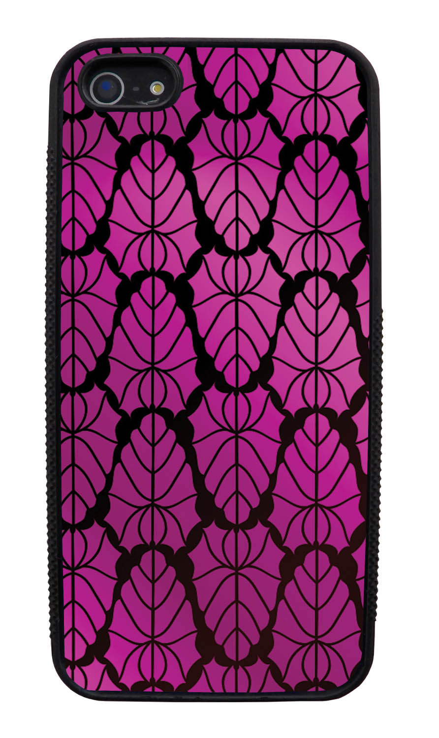 Apple iPhone 5 / 5S Pink Case - Purple to Pink Leaves - Fall And Winter - Black Slim Rubber Case