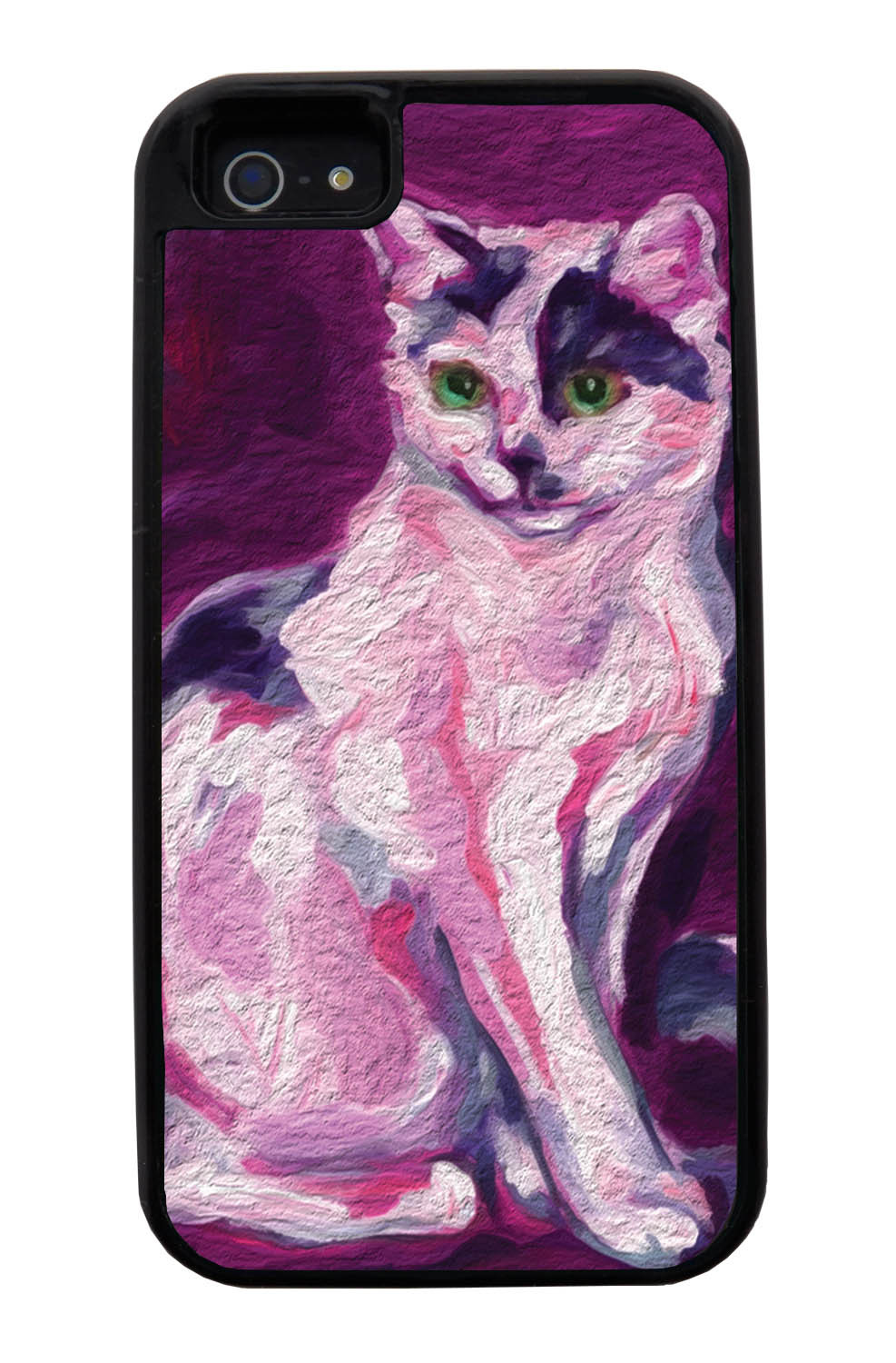Apple iPhone 5 / 5S Cat Case - Painted Cat Picture - Cute Pictures - Black Tough Hybrid Case