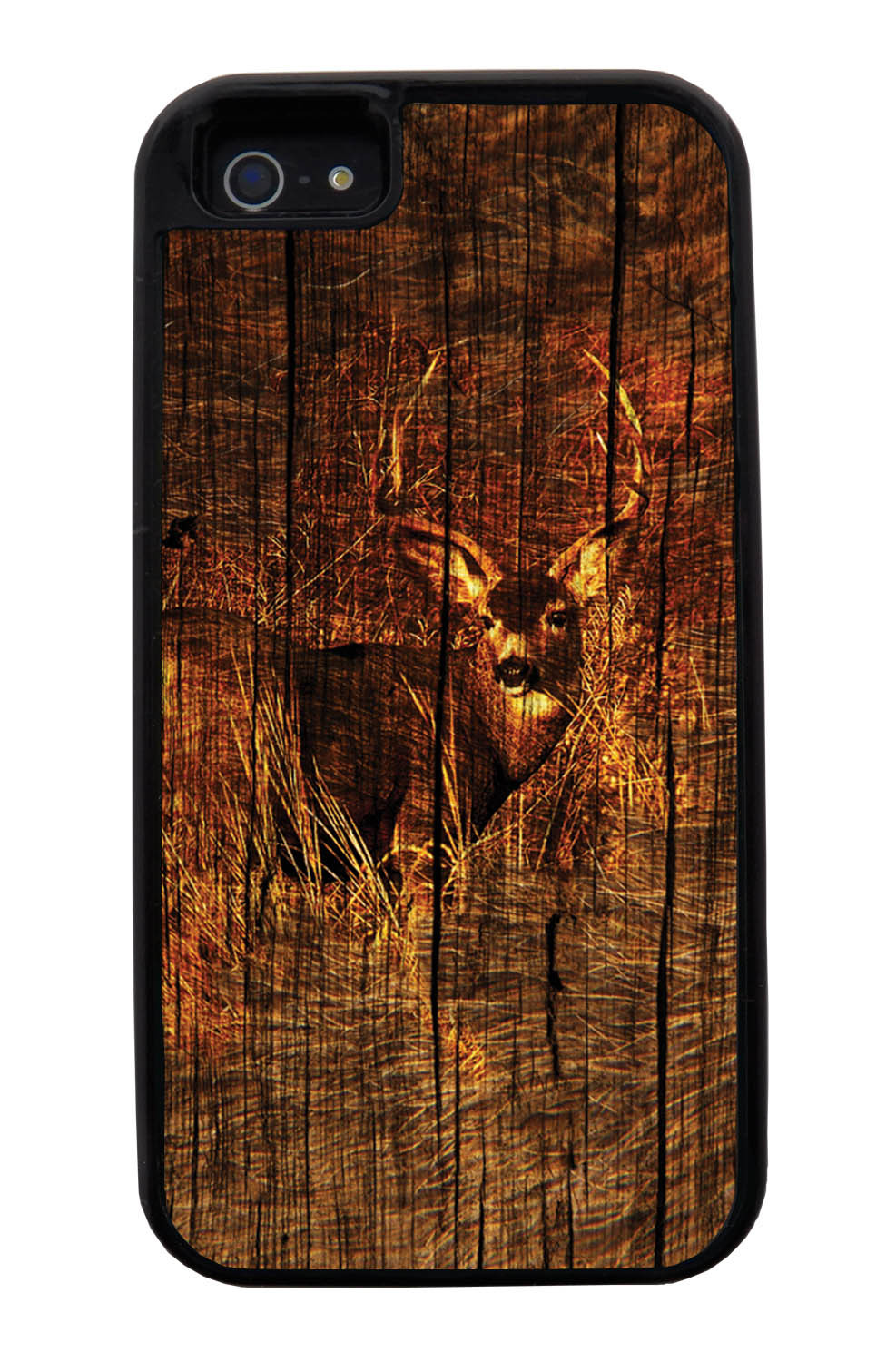 Apple iPhone 5 / 5S Deer Case - Deer Photo with Wood Overlay - Picture - Black Tough Hybrid Case