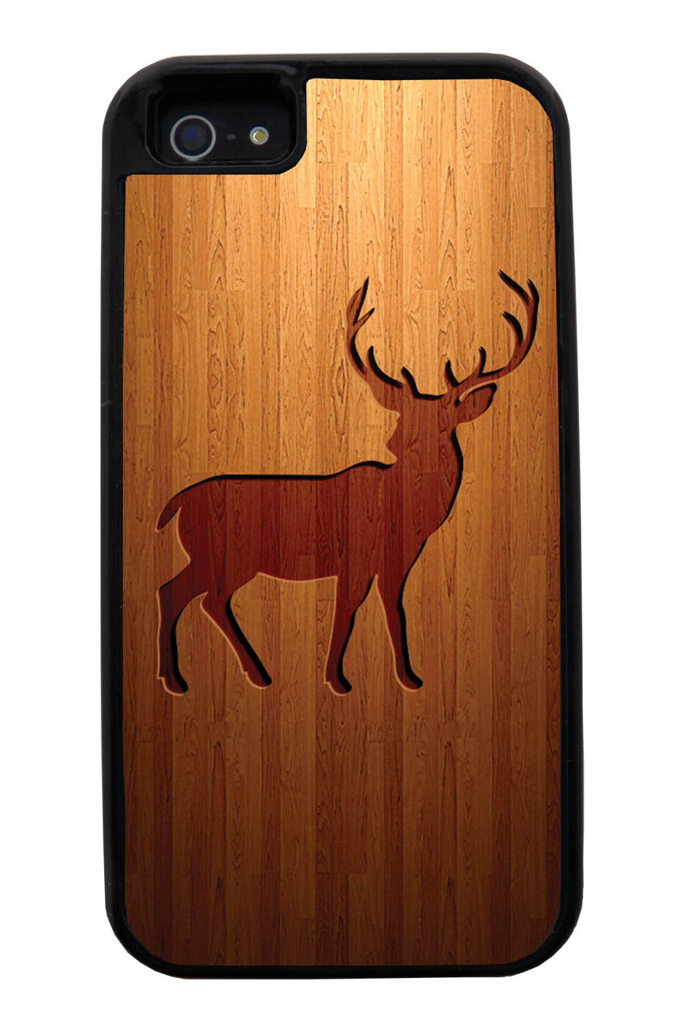 Apple iPhone 5 / 5S Deer Case - Simulated Wood Engraving - Picture - Black Tough Hybrid Case
