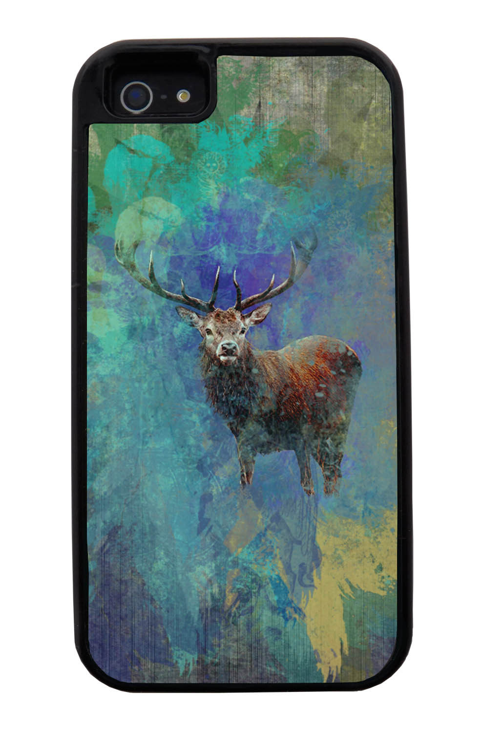 Apple iPhone 5 / 5S Deer Case - Deer Posturing Photo on Paint Splatter Overlay - Picture - Black Tough Hybrid Case