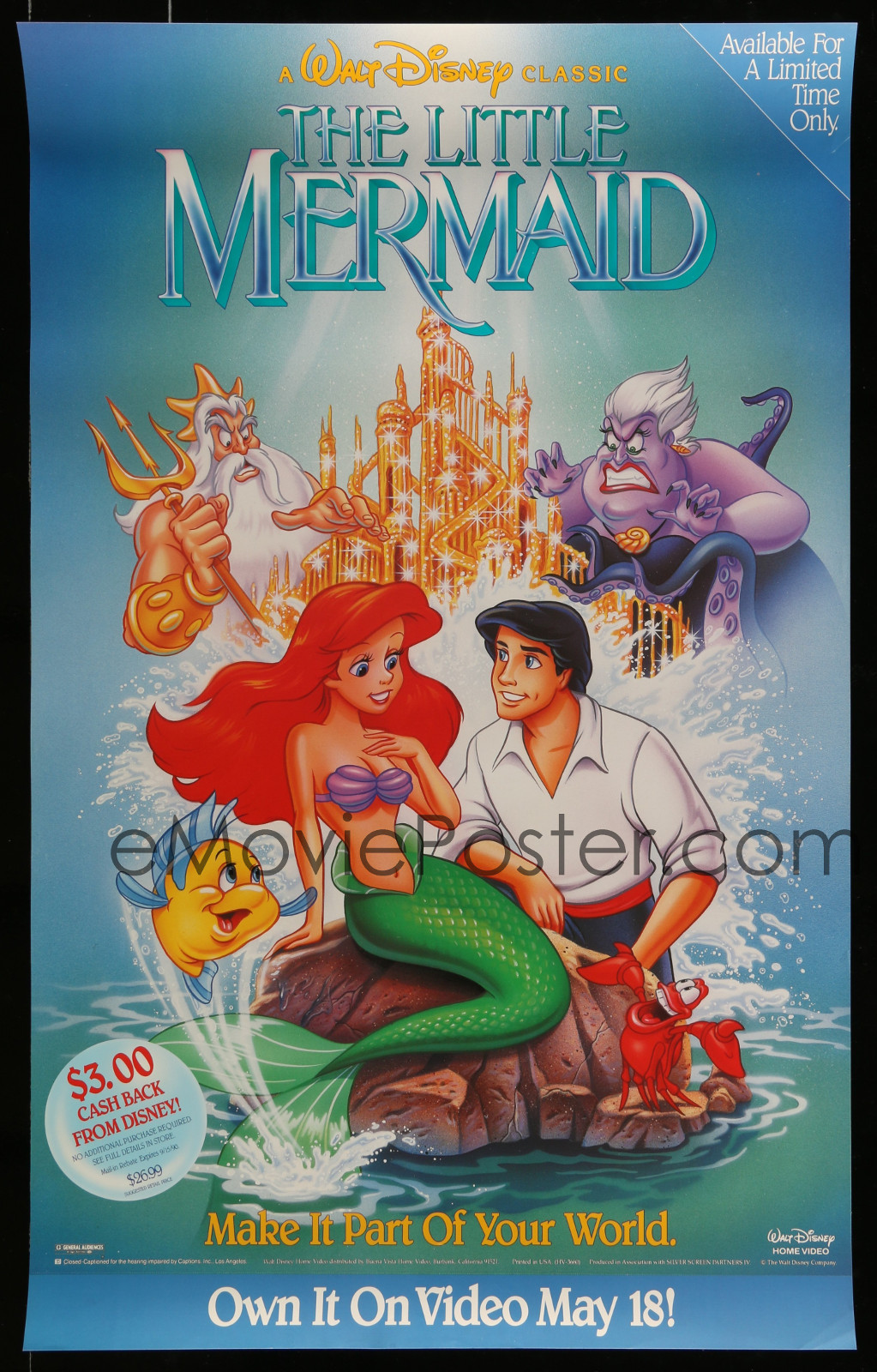 The Little Mermaid 2A323 A Part Of A Lot 18 Unfolded Single-Sided Video Posters '90S A Variety Of Movie Images!