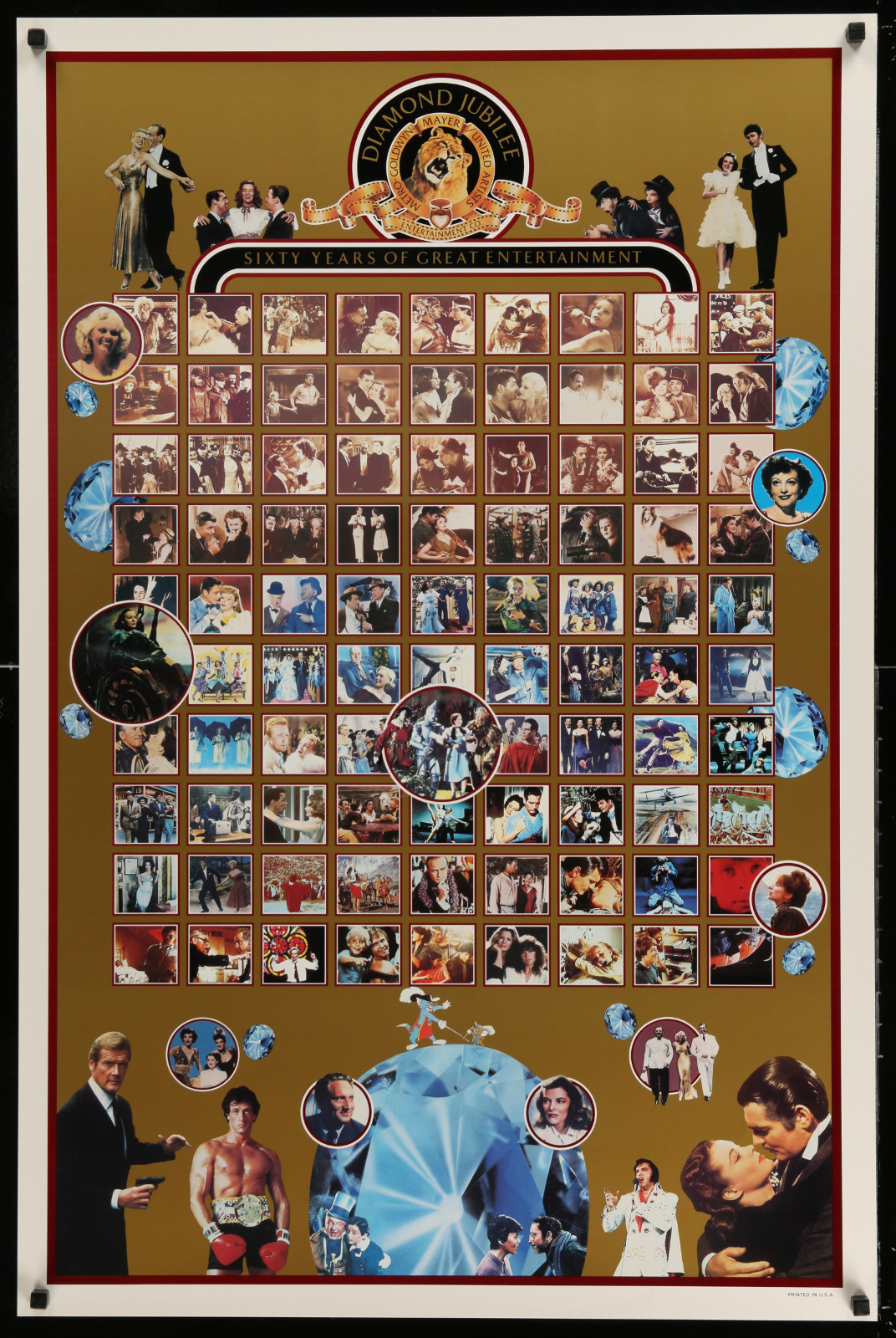Sixty Years Of Great Entertainment Mgm Diamond Jubilee 2A414 A Part Of A Lot 20 Unfolded Double-Sided And Single-Sided One-Sheets '80S-90S Great Movie Images!