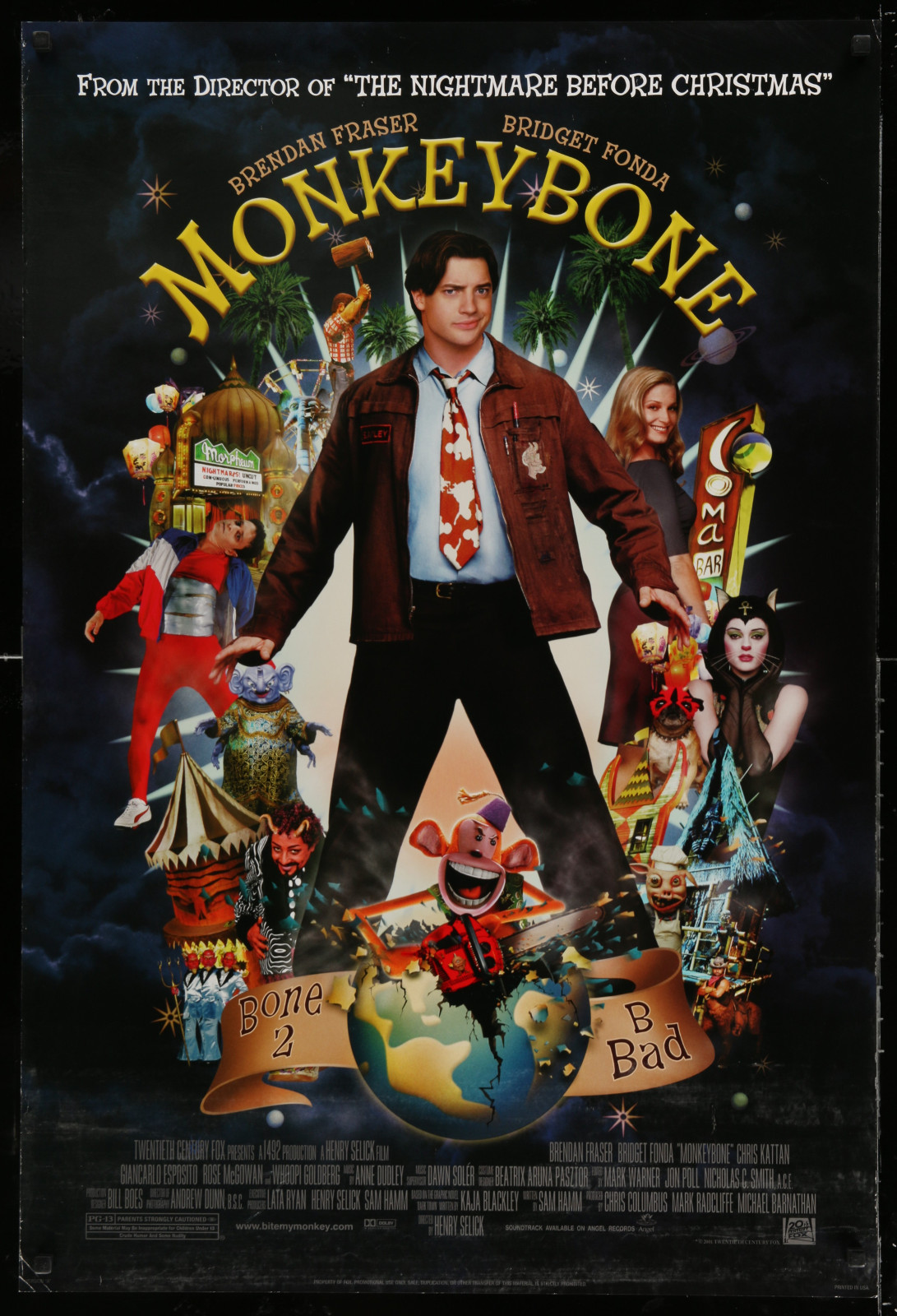 Monkey Bone 2A438 A Part Of A Lot 18 Unfolded Double-Sided 27X40 Mostly Comedy One-Sheets '90S-00S Great Movie Images!