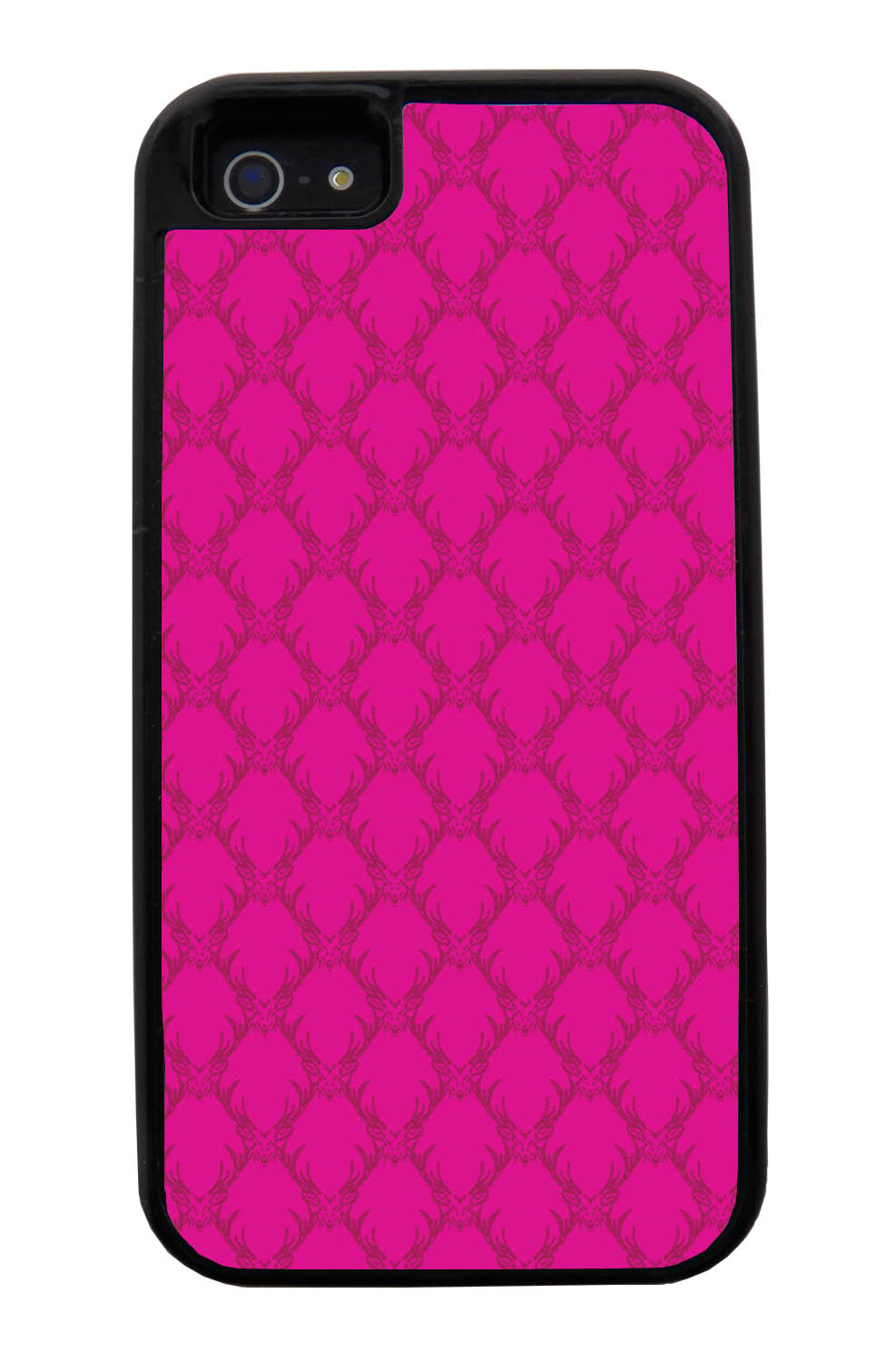 Apple iPhone 5 / 5S Pink Case - Hot Pink Deer Pattern - Fall And Winter - Black Tough Hybrid Case