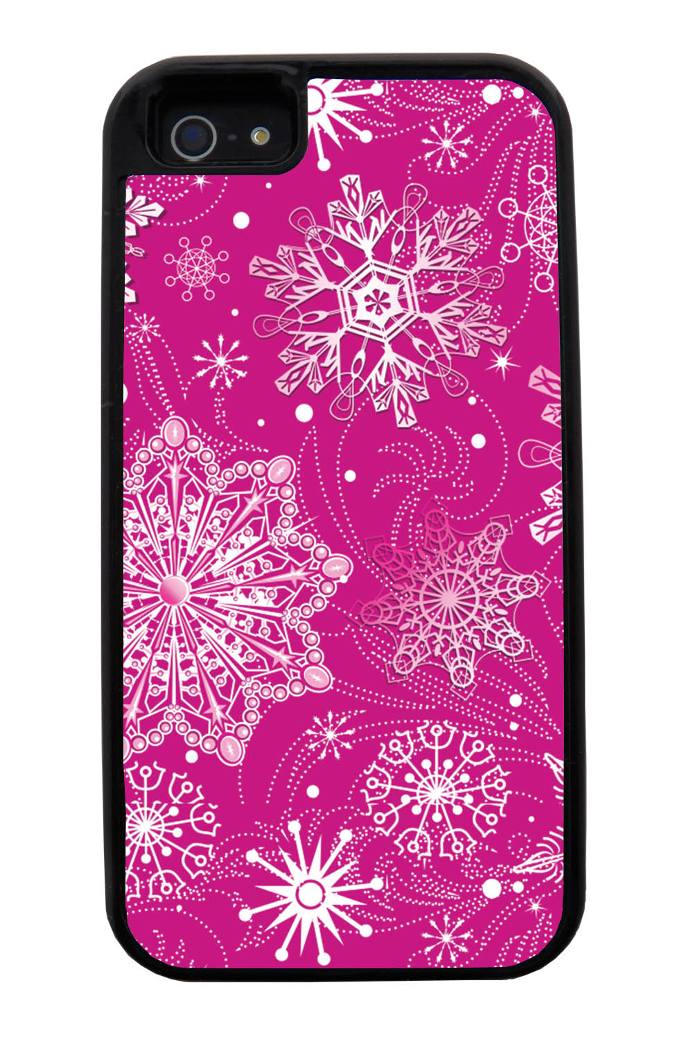 Apple iPhone 5 / 5S Pink Case - White Snowflakes on Hot Pink - Fall And Winter - Black Tough Hybrid Case