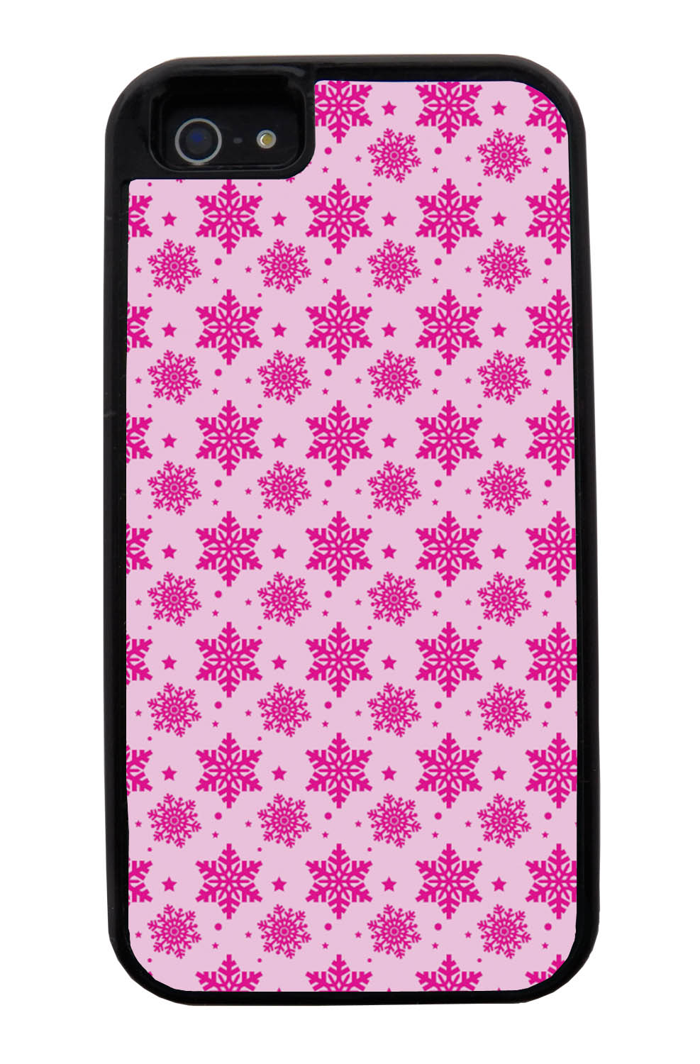 Apple iPhone 5 / 5S Pink Case - Hot Pink Snowflakes on Pink - Fall And Winter - Black Tough Hybrid Case