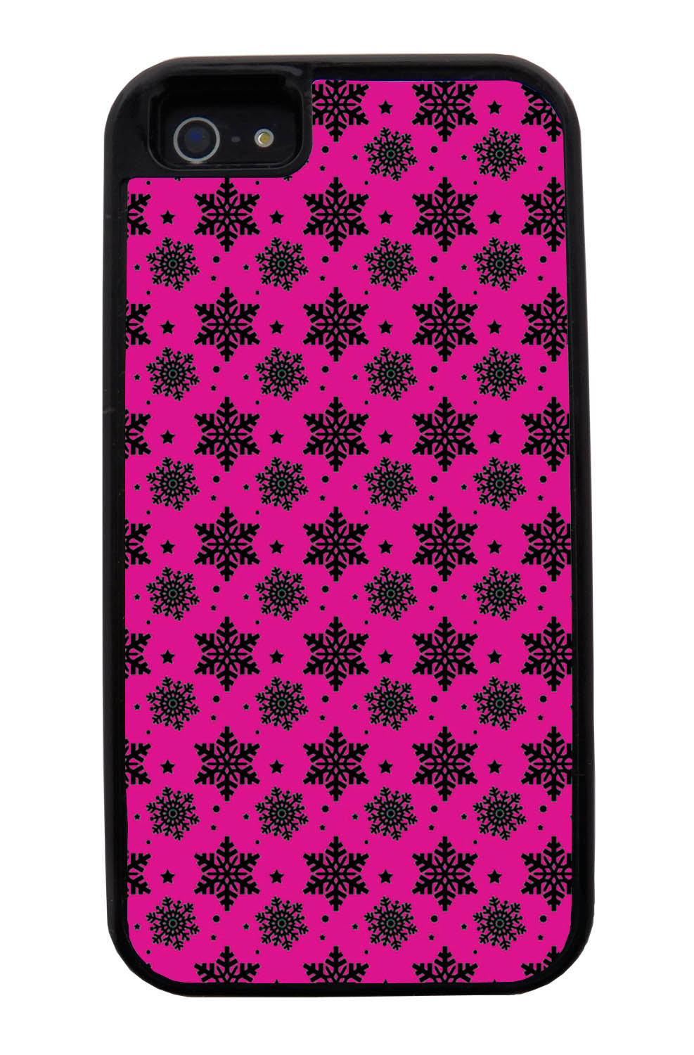 Apple iPhone 5 / 5S Pink Case - Black Snowflakes on Hot Pink - Fall And Winter - Black Tough Hybrid Case