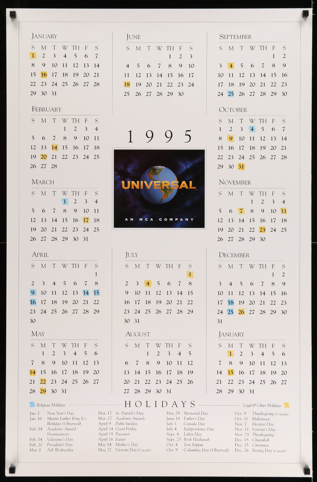 1995 Universal Pictures Calendar 2A422 A Part Of A Lot 19 Unfolded Mostly Double-Sided 27X41 One-Sheets '90S-00S Great Movie Images!