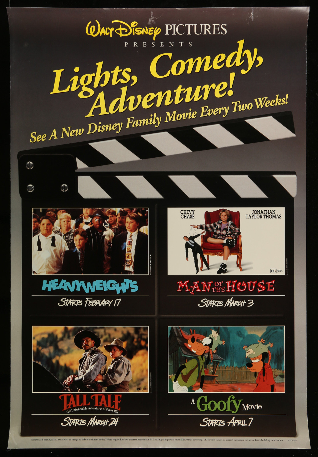 Lights, Comedy, Adventure! Walt Disney Family Movies: Heavyweights, Man Of The House, Tall Tale, A Goofy Movie 2A396 A Part Of A Lot 22 Unfolded Mostly Double-Sided 27X40 One-Sheets '00S A Variety Of Movie Images!